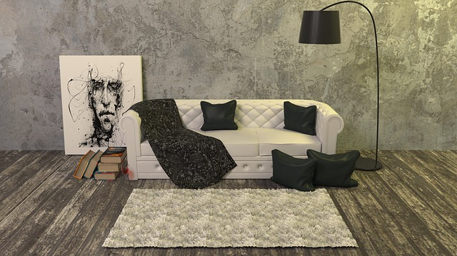 polštáře před gaučem
