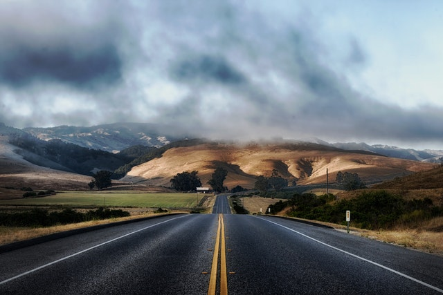 silnice, krajina, hory